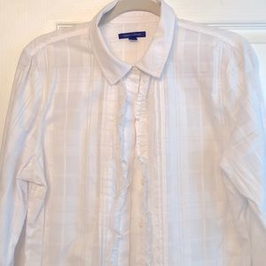 Tommy Hilfiger buttondown cotton blouse w/ ruffle